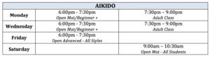 Aikido Schedule