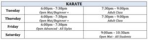 Karate Schedule